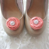 Petite Bridal Shoe Clips Peach Satin Flowers Rosette with Rhinestone Center Handmade Pastel wedding