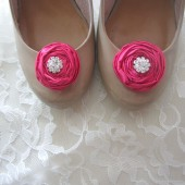 Petite Bridal Shoe Clips Hot Pink