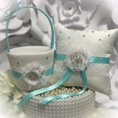 basket, flower girl basket, ring pillow, ring bearer pillow, tiffany blue, tiffany blue wedding