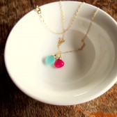 Mint and Pink Necklace in Gold