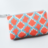 Zipper Clutch, Coral & Aqua
