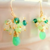 Green Gold cluster earrings