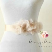Blush Silk Organza Flower Bridal Belt - Vera Wang Inspired
