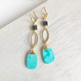 Long Turquoise and Lapis Dangle Earrings in Gold. Long Gold Aqua Dangle Earrings