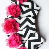 Chevron Clutch, Black and Fuchsia