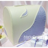 Wedding Chest Money Card Box in Lavender and Ivory with a Beautiful Handmade Paper Decorations and Pearls