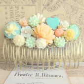 Wedding Hair Comb Peach Mint Green Wedding Hair Piece