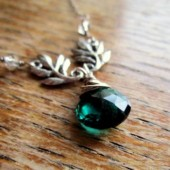 Emerald and Silver Leaves Necklace