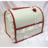 Wedding Chest Money Card Box in Ivory and Red with a Beautiful Handmade Boutonniere and Gorgeous Lace