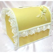 Wedding Chest Money Card Box in Gold and Ivory with a Beautiful Handmade Boutonniere and Gorgeous Lace