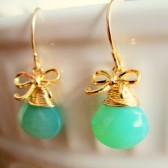 Green Gold Bow Earrings