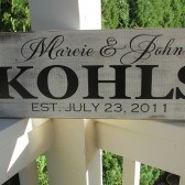Personalized family sign - distressed - family last name, first names and established date - couple wedding gift
