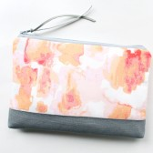 Clutch Purse, Peach and Grey