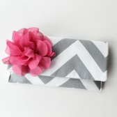 Chevron Clutch with Pink Flower