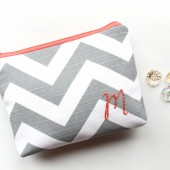 Monogram Cosmetic Bag, Coral and Gray