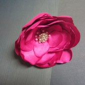 Hot pink rose satin brooch pin corsage