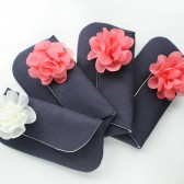 Clutch Purse, Navy & Coral