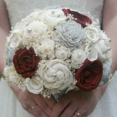 Maroon and Light Grey Brides Bouquet