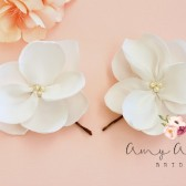 Ivory Magnolia Flower Bridal Hair Pin Set