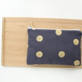 Dot Clutch Purse, Gold and Navy