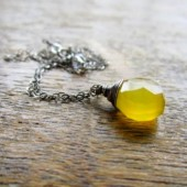 Yellow and Oxidized Silver Necklace