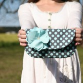 polka dot clutch purse in charcoal and teal
