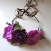 Radiant Orchid Flower crown bridal head piece