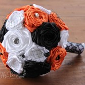 Orange, Black, & White Halloween Wedding Bouquet
