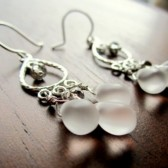 White Silver Chandelier Earrings