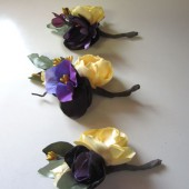 3 Purple and Yellow boutonnieres for Wedding