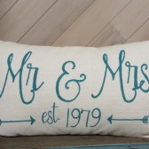 Custom Mr & Mrs pillow cover with est. date and arrows