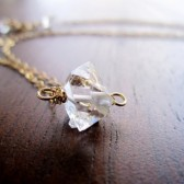 Herkimer Diamond necklace in Gold