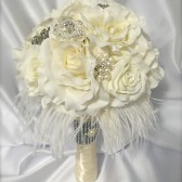 bouquet, feather bouquet, bridal bouquet, bling bouquet, wedding flowers, ivory roses, rose bouquet, wedding shop, bridal shop