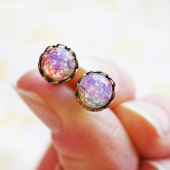 Vintage Pink Opal Earrings