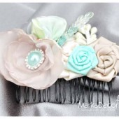 Hair Comb with Handmade Flowers, my Stamen's Accent and Cluster in Tan, Mint and Ivory