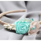 Bridal Flowergirl Headband with Handmade Flowers, my Stamen's Accent and Cluster in Cream, Mint and Ivory