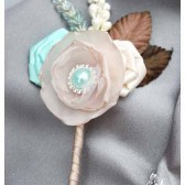 Groom Boutonniere with Satin Flowers my stamen's Accents and Cluster in Craem Ivory Mint Tan and Brown 1pc