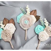 Groom and Groomsmen Boutonnieres Set of 3 with Satin Flowers in Ivory, Tan, Champagne, Cream, Mint and Brown