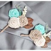 Groomsmen Boutonnieres Set of 2 with Satin Flowers in Ivory, Tan, Champagne, Nude, Mint and Brown