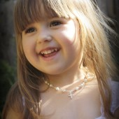 Annabelle flower girl pearl necklace with cross charm