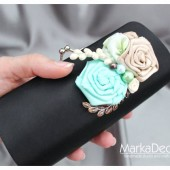 Bridal Clutch Purse in Black Cream and Mint with Gorgeous Handmade Flowers, Glass Pearls and my Stamens' Accents