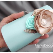 Bridal Clutch Purse in Blue, Cream and Mint with Gorgeous Handmade Flowers, Cluster, Pearls and my Stamens' Accents