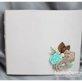 Wedding Guest Book in Champagne with a Gorgeous Boutonniere in Ivory, Tan, Mint and Brown