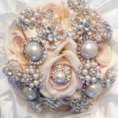Diamonds & Pearl Blush Brooch Bouquet