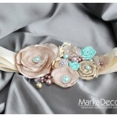 Bridal Sash in Tan, Ivory, Champagne and Mint with Brooches, Glass Beads and Handmade Flowers