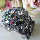 Purple Rhinestone Wedding Cuff