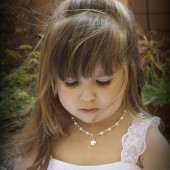 Annabelle flower girl pearl necklace with star charm