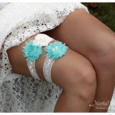 Bridal Garter Set Wedding Lace Jeweled Garters with Brooches, Crystals, Pearls and Handmade Flowers
