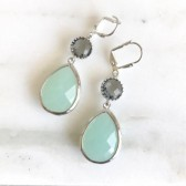 Mint and Charcoal Bridesmaids Earrings