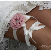 Bridal Flower Jeweled Garter Set Wedding Bridesmaids Lace Garter with Brooches, Crystals, Pearls and Handmade Flowers in Ivory and Blush